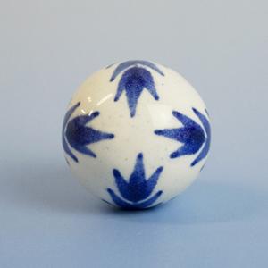セラミックつまみ ボール型 (ホワイト/紺) IK-188