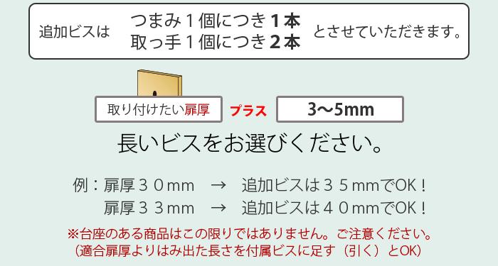 ビスの選び方:扉圧+3~5ミリ
