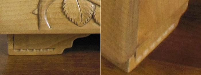 木彫り仙人様からの写真 家具脚のアップ